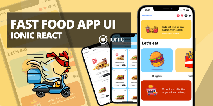 A fast food ordering app UI with features