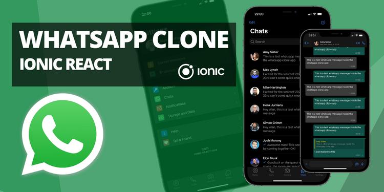 A clone of the WhatsApp UI (IOS, dark mode)