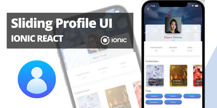 A profile UI with cards and animations